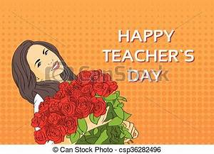 Woman hold rose flower bouquet teacher day holiday ...