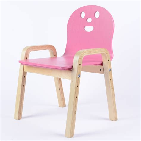 Solid Wood Child Stools Chairs Backrests Birch Armrest