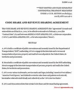 Revenue share agreement template code share and revenue for Profit share agreement template
