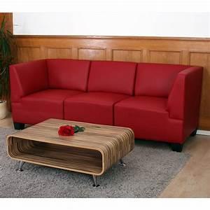 Canapé 3 Places Simili Cuir : canap 3 places lounge salon lyon modulable simili cuir noir cr me rouge ebay ~ Teatrodelosmanantiales.com Idées de Décoration