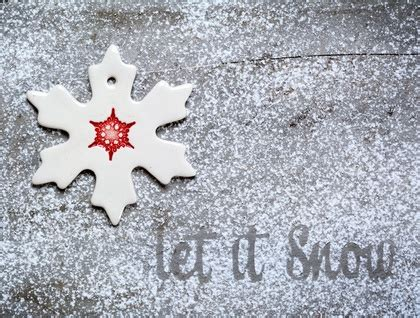 ceramic christmas snowflake ornament decoration red felt