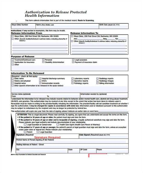 release of information template release form templates