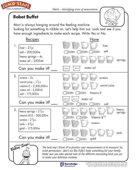 quot robot buffet quot 3rd grade measurement worksheets for