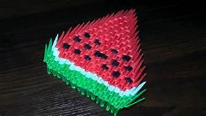 Origami Für Anfänger : 3d origami watermelon for beginners tutorial ~ A.2002-acura-tl-radio.info Haus und Dekorationen