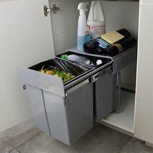 Meuble Poubelle Cuisine : poubelle de meuble coloris gris 2 bacs 20l cooke lewis ~ Dallasstarsshop.com Idées de Décoration