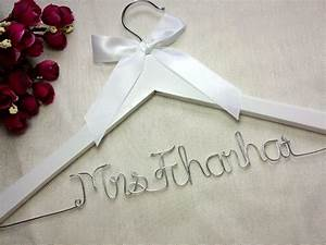 white hanger and ribbon personalized wedding hanger With personalized wedding party gifts