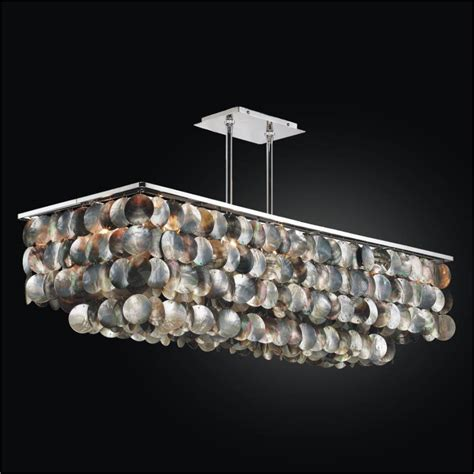 large rectangular chandelier with of pearl