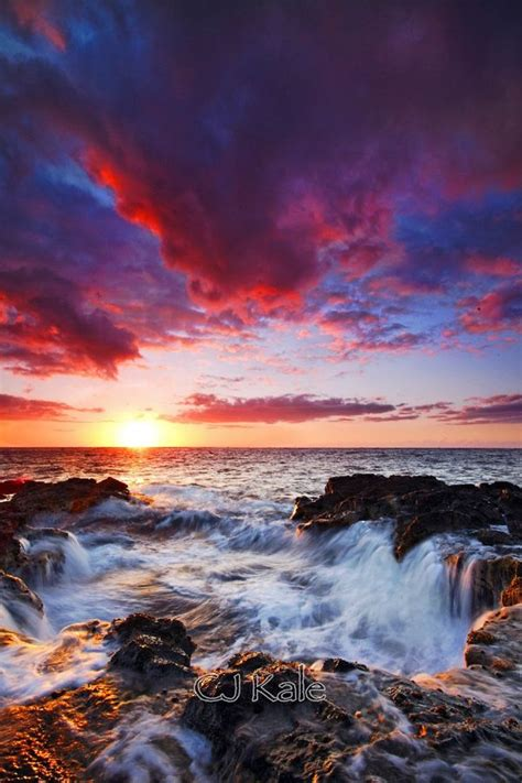 fiery sunset kona coast hawaii beautiful nature