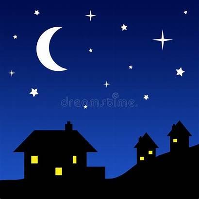 Silhouettes Night Sky Starry Cartoon Houses Silhouette