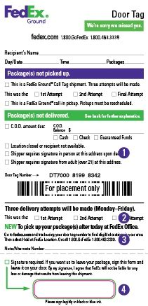 fedex door tag number door tags fedex a door tag from fedex saying that they