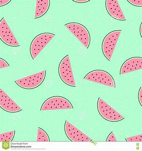 Watermelon Slices Seamless Pattern On Mint Green Polka ...