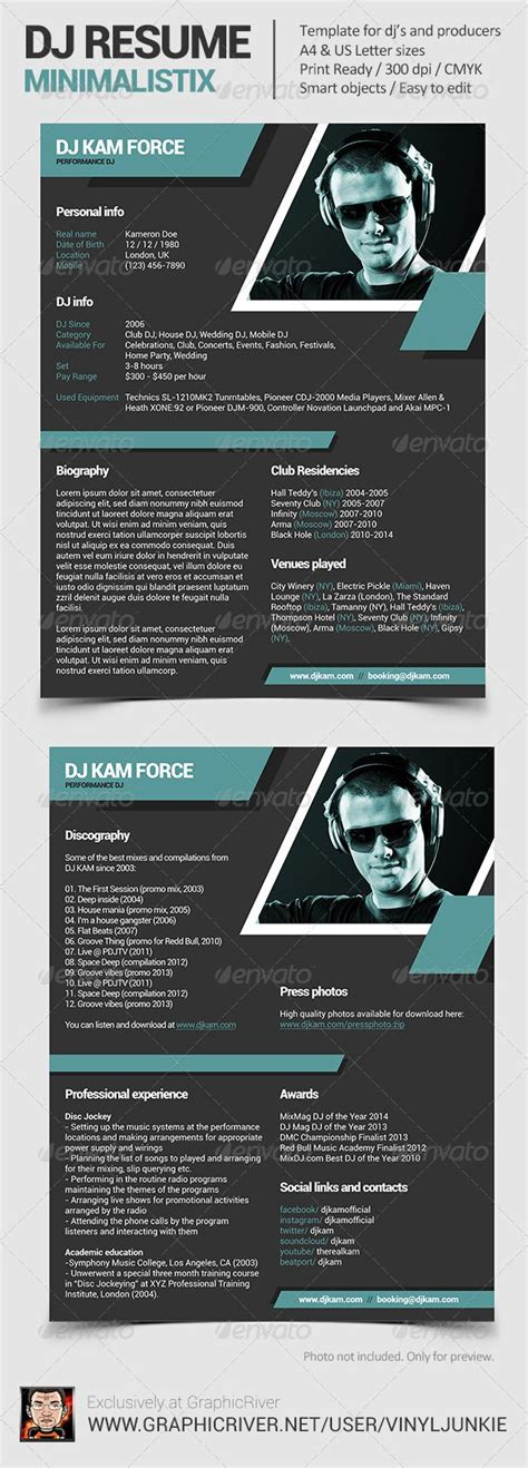 Dj Resume by 15 Best Images About Dj Press Kit And Dj Resume Templates