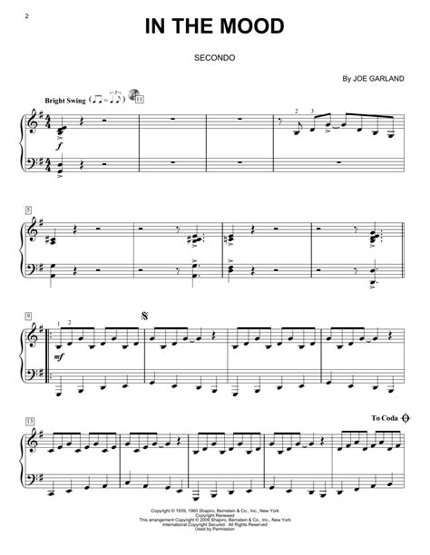 in the mood sheet music by glenn miller his orchestra