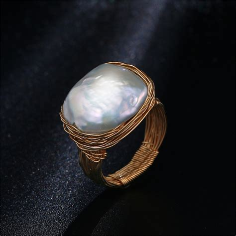 original handmade near freshwater pearl ring baroque style gold wire wrapped ring luxury