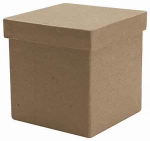 "Paper Mache Tall Square Box - 3""x3""x3"" - Traditional"