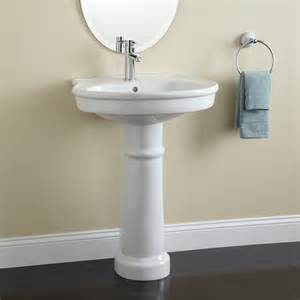 white round top ceramic pedestal sink with chrome single