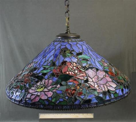 stained glass hanging light fixture signed quot somers tiffany quot hanging stained glass ceiling