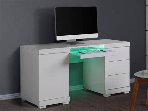bureau mdf bureau pluton leds 1 porte 3 tiroirs mdf laqué blanc