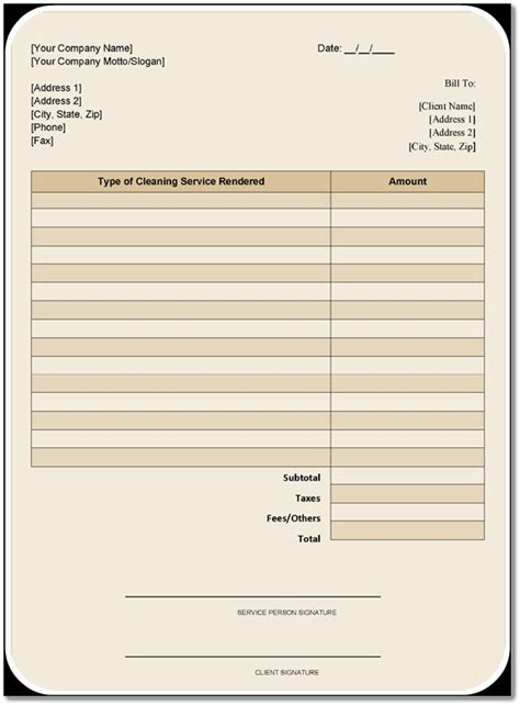 cleaning services invoice template   samples