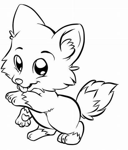 Fox Cartoon Coloring Pages Cliparts Printable Drawing