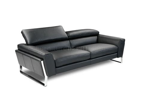 Contemporary Leather Loveseat by Black Top Grain Italian Leather Modern Sofa W Optional