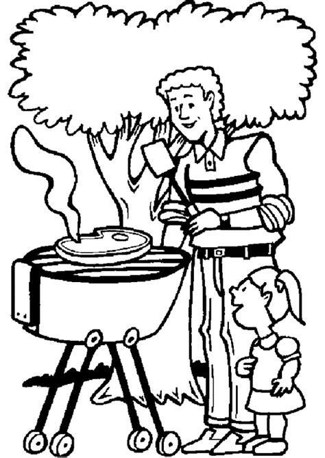 chambre enfants fille coloriage ce papa fait du barbecue avec sa fille