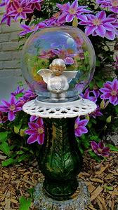 repurposed glass garden art angels - Glass Garden Art