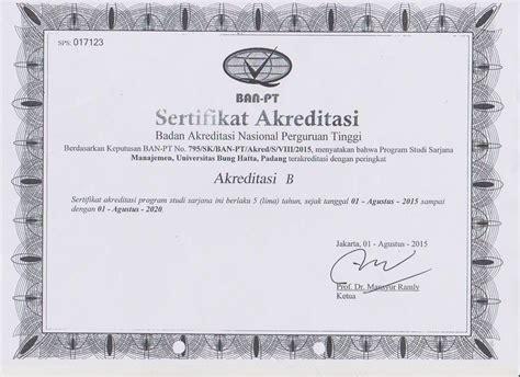Surat Keterangan Akreditas by Universitas Bung Hatta