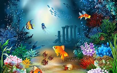 Underwater Sea Desktop Wallpapers Fish Fantasy Cartoon