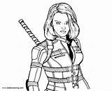 Widow Coloring Marvel Super Printable Adults sketch template