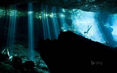 Akumal Diver Mexico Bing Hintergrundbilder Cenote Diving