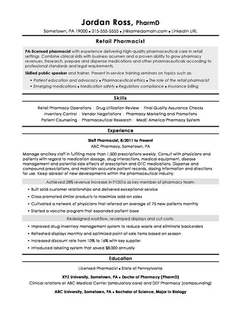 pharmacist resume sle