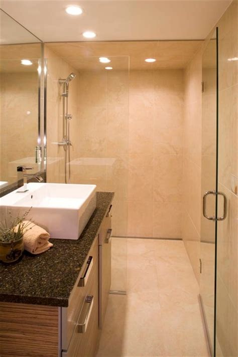 space saving curbless shower entry modern  metro
