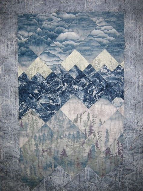snowy mountains art quilt wall hanging  tahoequilts