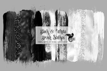 black  white brush strokes clipart  digital curio tpt
