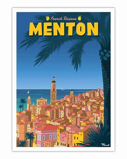 French Riviera Menton Marcel Affiche Poster Travelposters