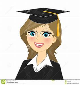 Graduation girl stock vector. Image of achievement ...