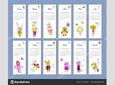 2018 calendar, cute monster, print — Stock Vector © SMSka