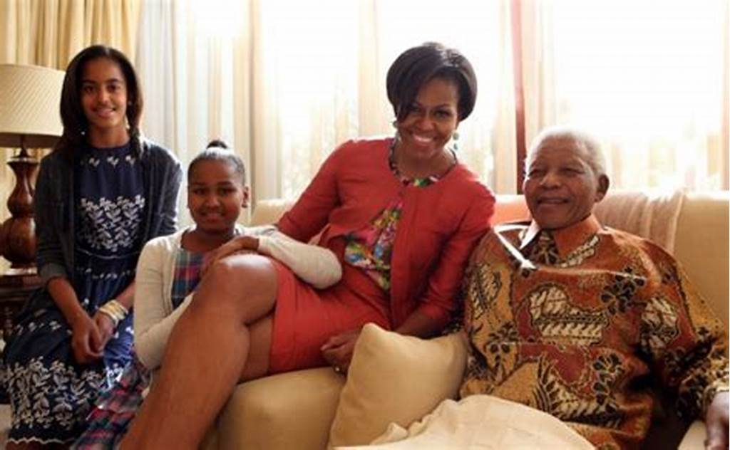 #Michelle #Obama #And #The #Girls #Meet #Nelson #Mandela