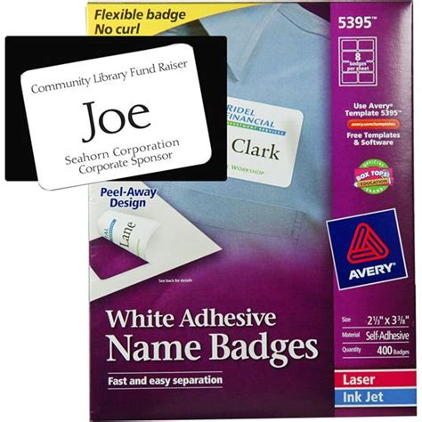 avery 5395 white adhesive name badges 2 1 3 3 3 8 quot