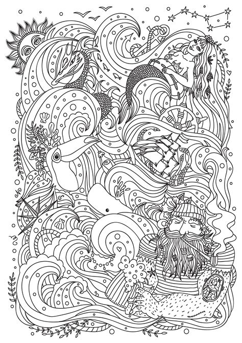 mermaid sailor bird  boat mermaids adult coloring pages
