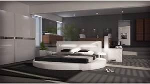 Lit rond design 160x200 en simili blanc avec eclairage for Suspension chambre enfant avec matelas 160x200 haut de gamme