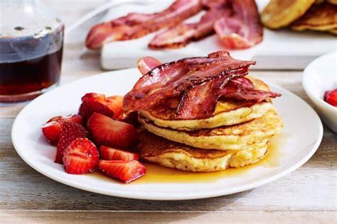 banana pancakes  streaky bacon  maple syrup