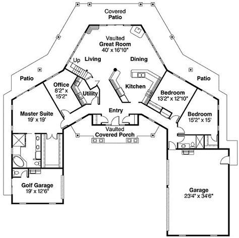 plan da hexagonal core wings cottage style house plans ranch house plans