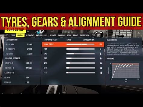 forza horizon  tuning guide tyres gears alignment