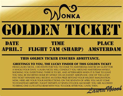 golden ticket template my cavern of wonders amsterdam