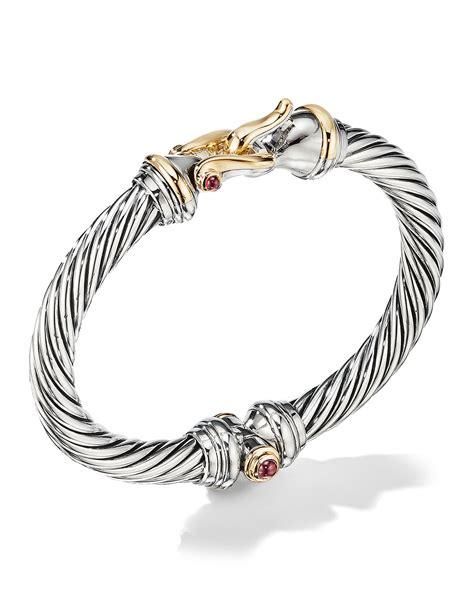 david yurman mm cable buckle bracelet  garnet  gold neiman marcus