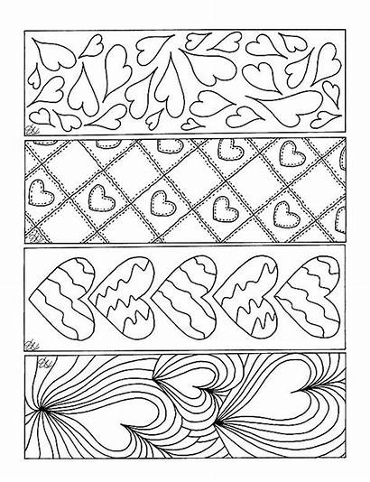 Bookmarks Coloring Printable Pages Bookmark Valentine Theme