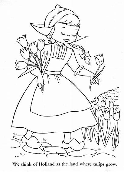 Coloring Holland Children Pages Tulips Lands Dutch