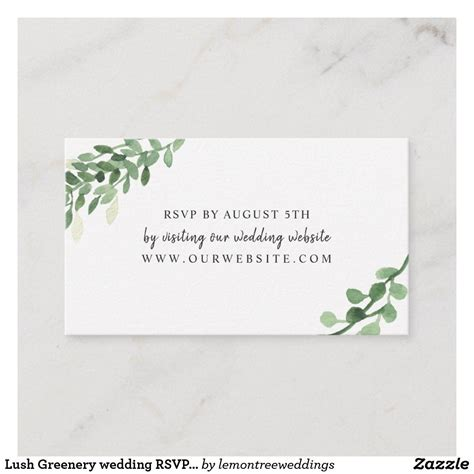 Lush Greenery wedding RSVP online card Zazzle com in